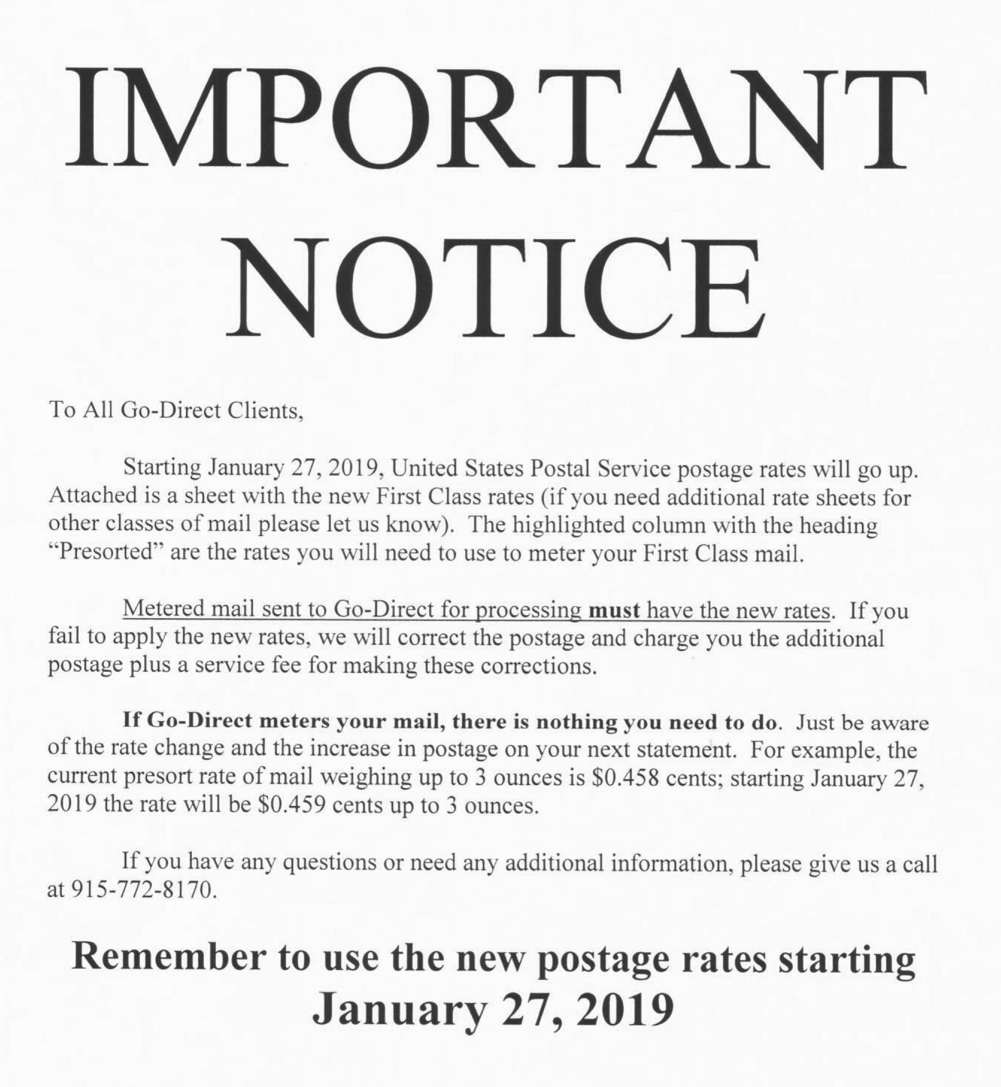 New USPS Rates 2019 | NMSU Mail Services | New Mexico State